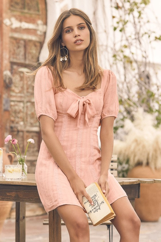 Madeline Blush Pink Puff Sleeve Mini Dress - Lulus