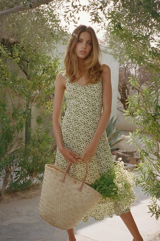 5e405617a313 Cute Green Floral Print Dress - Floral Midi Dress - Sheath Dress