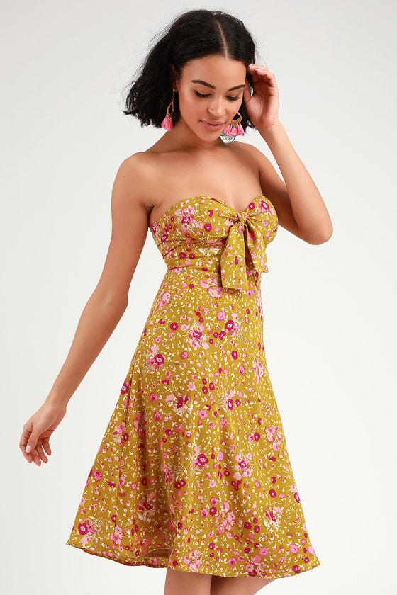 b8b6e1a3233 Yellow Floral Print Dress - Keyhole Dress - Strapless Midi Dress