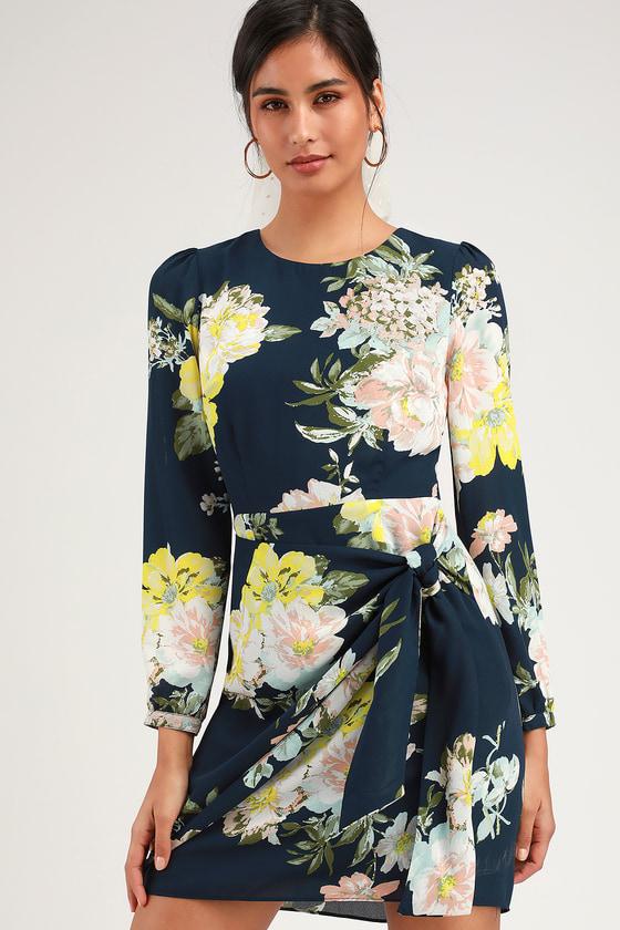 72ed41bbe7ee Socialite Dress - Navy Blue Floral Print Dress - Tie-Front Dress