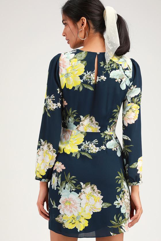 1036f84d97 Socialite Dress - Navy Blue Floral Print Dress - Tie-Front Dress