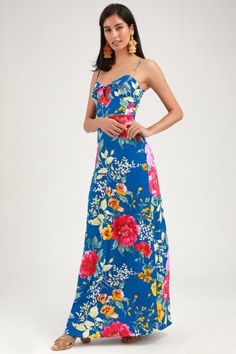 16af85b8e3c Santiago Blue Floral Print Tie-Front Maxi Dress