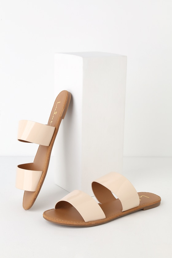 67b51fe24ca Cute Nude Sandals - Slide Sandals - Flat Sandals -  15.00