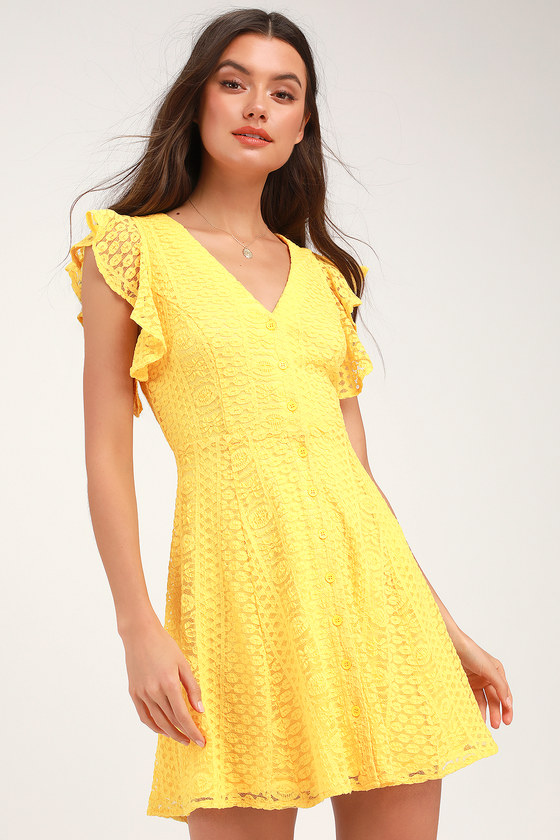 659e459e3a102 Cute Yellow Lace Dress - Skater Dress - Button-Down Dress