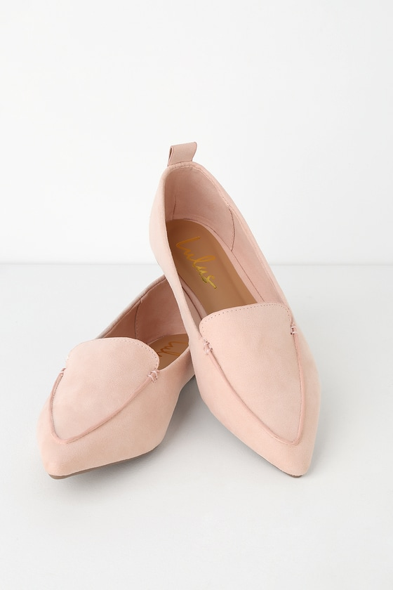 0e980b37728 Pointed Blush Loafers - Loafer Flats - Vegan Suede Loafers