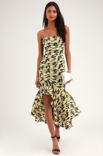 a8b823f6249 Enlight Navy Blue and Yellow Floral Print Strapless Midi Dress