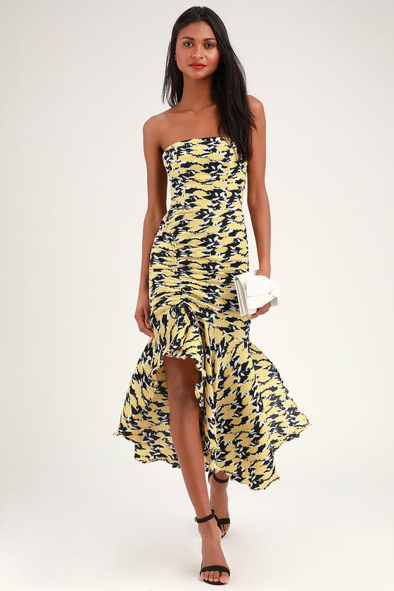 2d4681344e4 C MEO Enlight - Yellow Floral Print Dress - Strapless Midi Dress