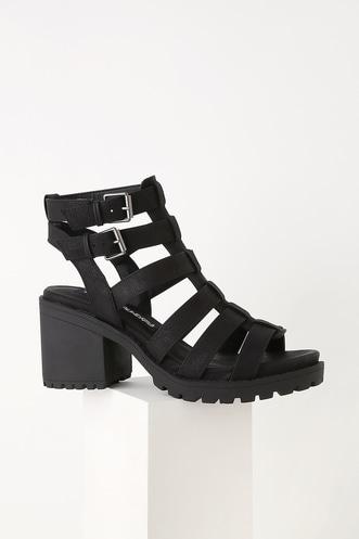 467f03cfc82ad Fun Stuff Black High Heel Gladiator Sandals