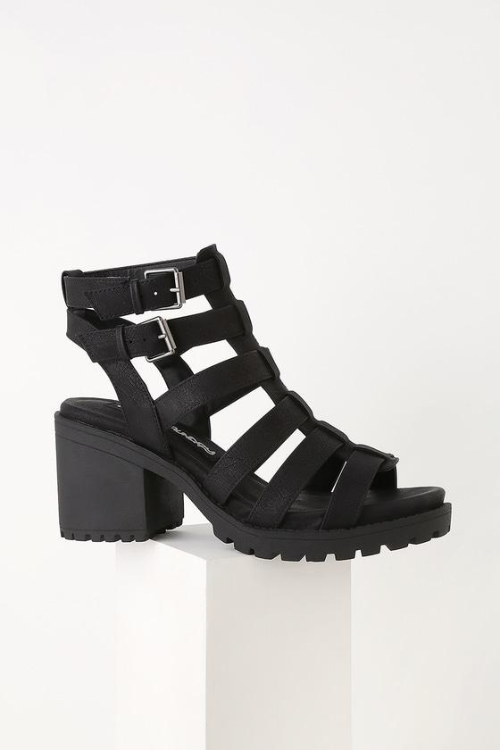 cc5589f643a Fun Stuff Black High Heel Gladiator Sandals