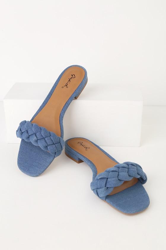 6faa8d25ca Cute Slide Sandals - Light Blue Denim Sandals - Braided Sandals