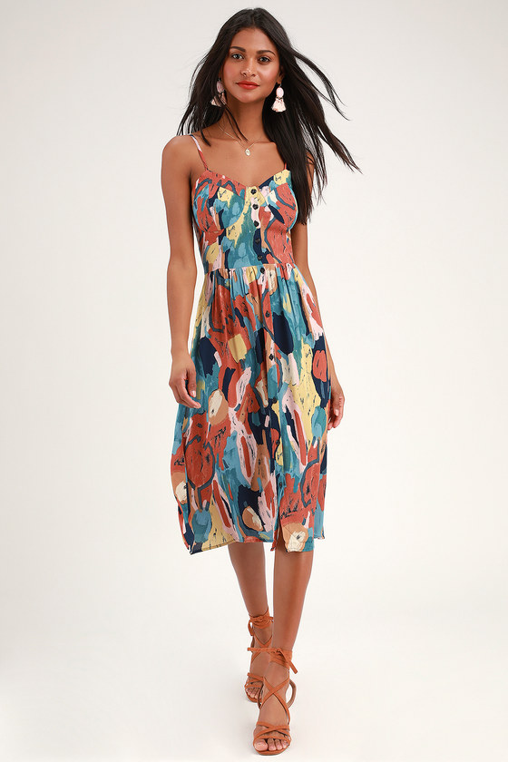 Eve Painted Tulip Rust Orange Multi Print Button-Up Midi Dress - Lulus