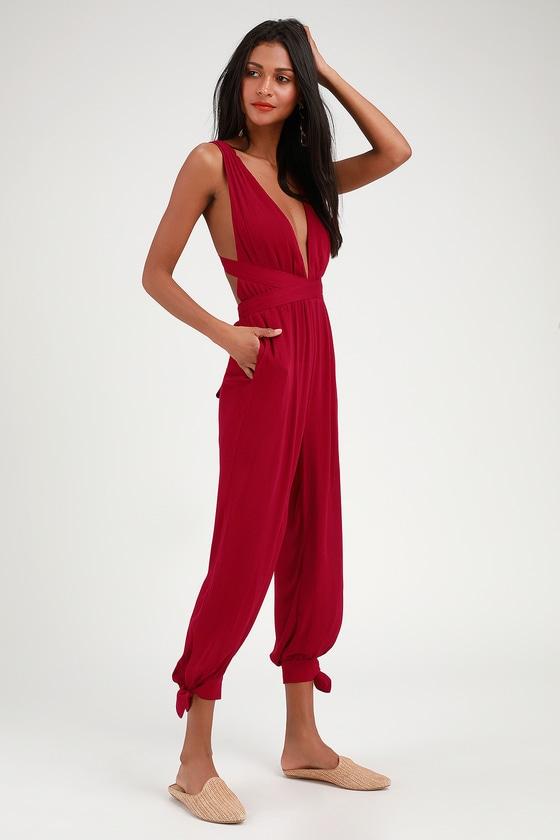 a493d18f3e6a Cute Berry Red Jumpsuit - Halter Jumpsuit - Tying Jumpsuit