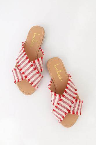 4ceb0824139 Koren Red Striped Espadrille Slide Sandals