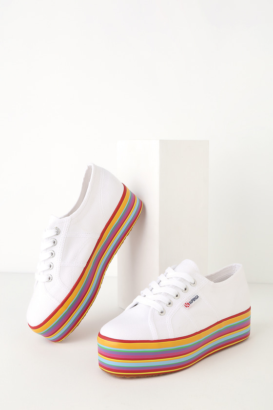 Retro Vintage Flats and Low Heel Shoes 2790 COTW White Multi Platform Sneakers - Lulus $85.00 AT vintagedancer.com