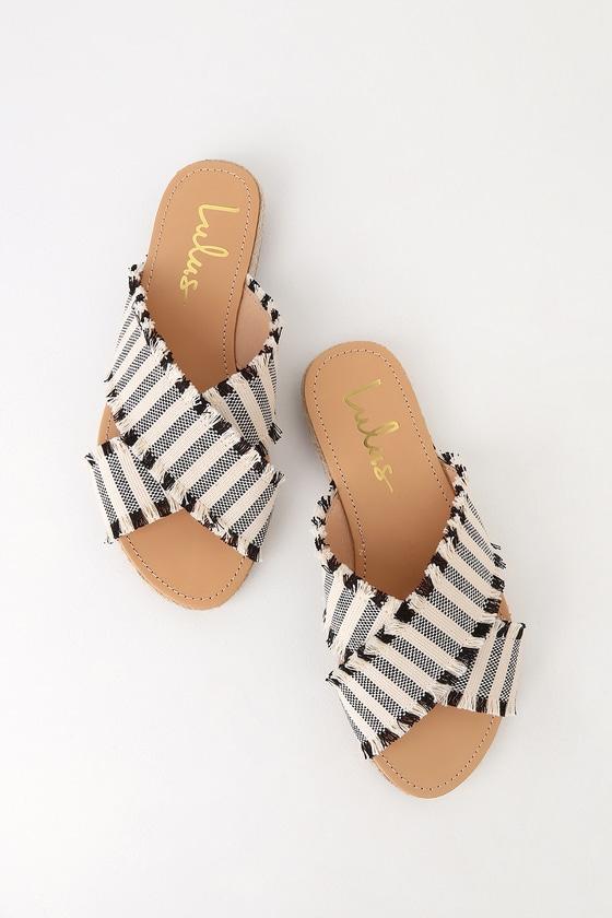 73f14c99d Cute Black Striped Slides - Slide Sandals