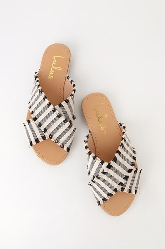 b33b8b21944a90 Koren Black Striped Espadrille Slide Sandals