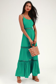 f0f962525e2 Lovely Green Tropical Print Dress - Backless Maxi Dress