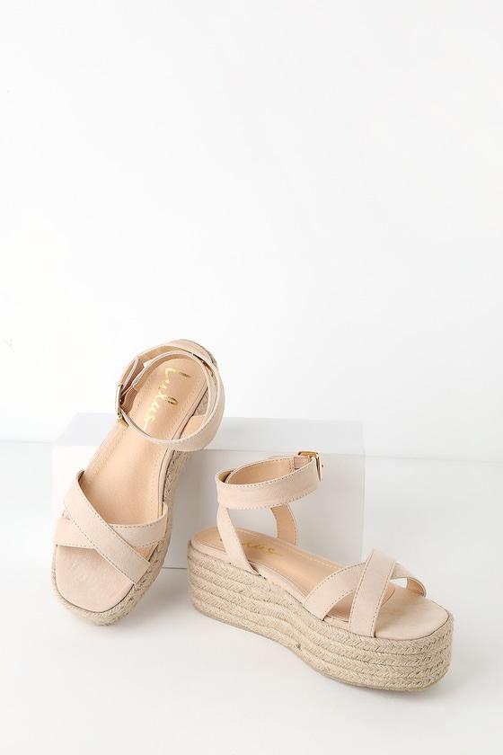 a3f9cdd623807 Cobi Nude Suede Espadrille Platform Sandals