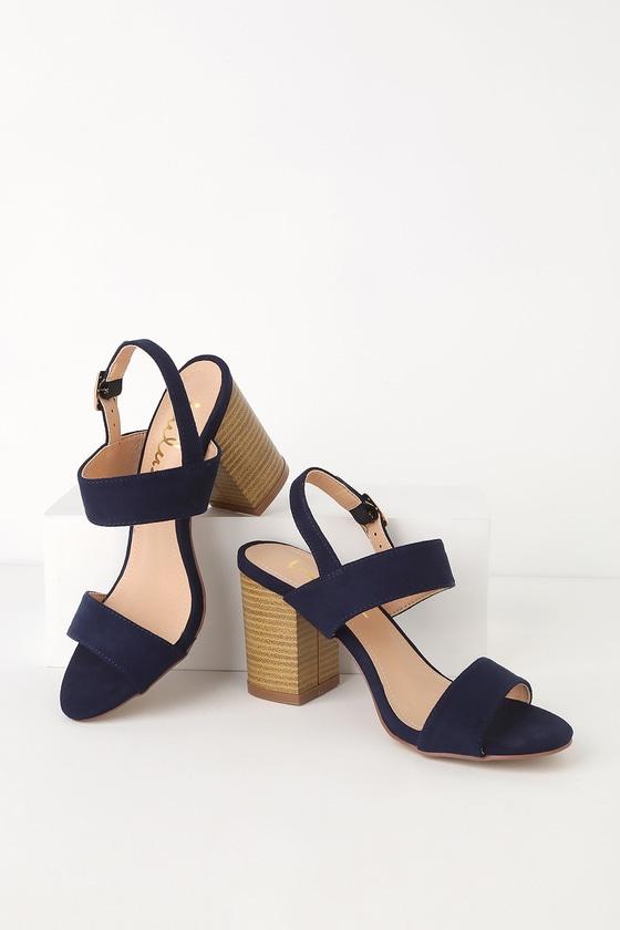 40632eb8474 Cute Navy Heels - High Heel Sandals - Suede Sandals