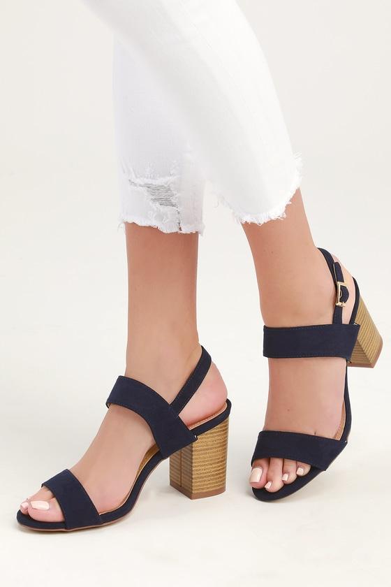372dc845aa7 Cute Navy Heels - High Heel Sandals - Suede Sandals