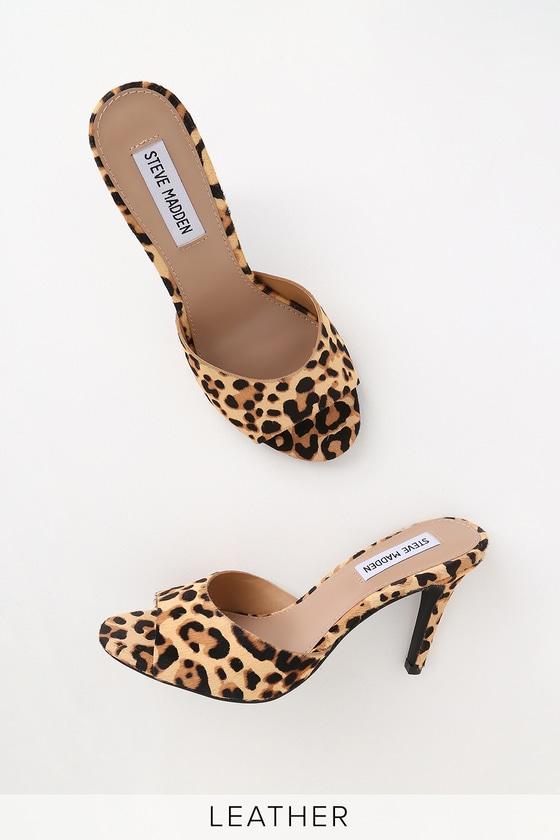 2e3ad134260 Steve Madden Erin - Leopard Cow Hair Heels - High Heel Sandals