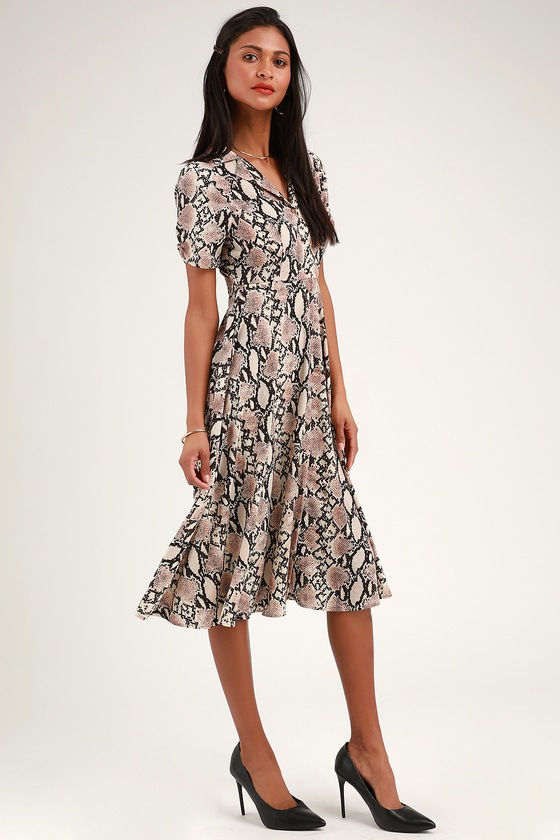 599fb416330 Let s Snake a Deal Beige Snake Print Collared Midi Dress