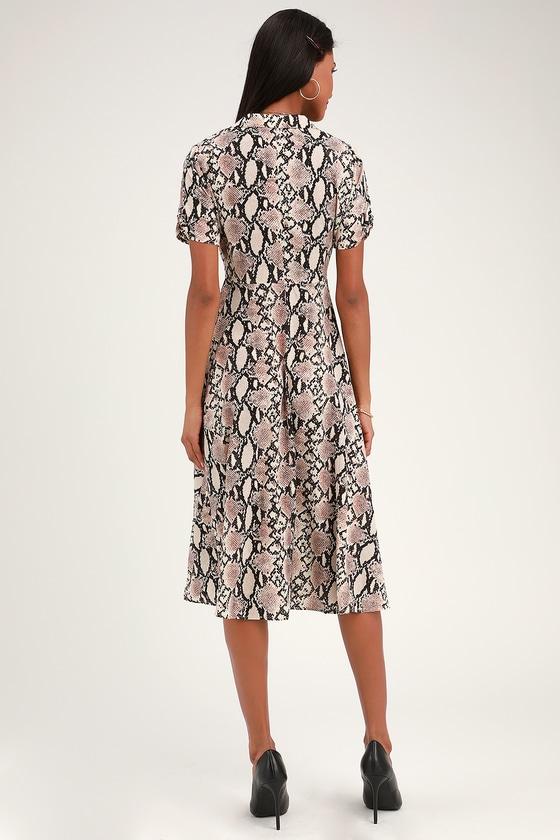 54f7b3e2d21 Chic Beige Snake Print Dress - Collared Dress - Snake Midi Dress