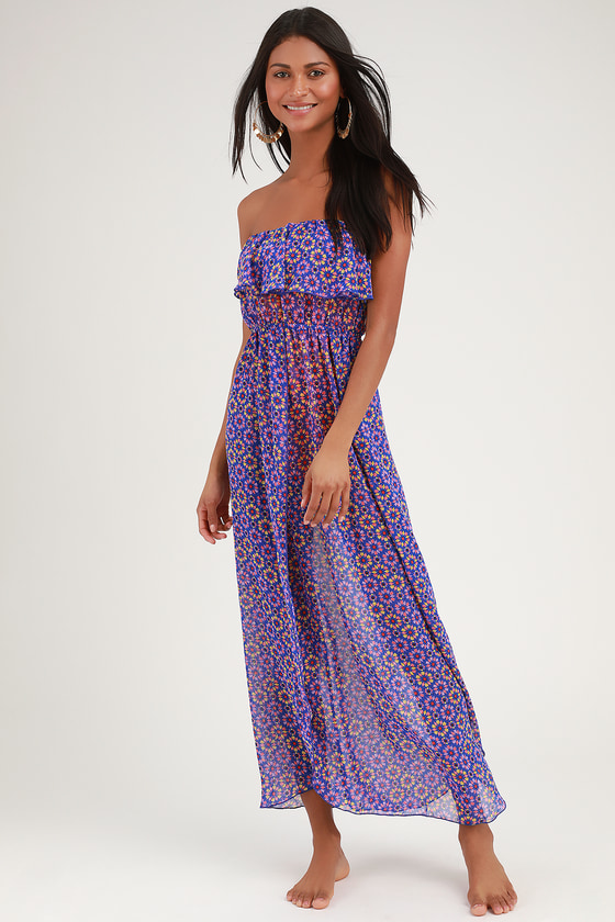 Layton Royal Blue Print Sheer Strapless Maxi Swim Cover-Up