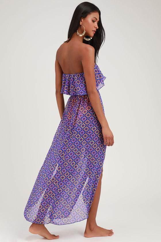 0c950f2d19 Cute Royal Blue Print Cover-Up - Maxi Cover-Up - Swim Cover-Up