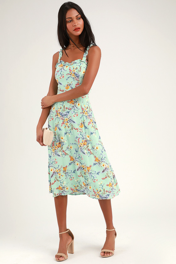 Sunny Meadow Sage Green Floral Print Tie-Back Midi Dress - Lulus