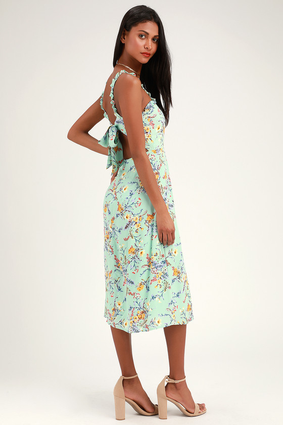 478948b01e Sage Green Floral Print Dress - Midi Dress - Tie-Back Dress