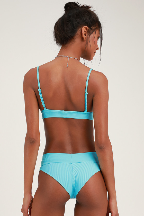 1bad2a5828 Gavin Ribbed Turquoise Bikini Bottoms