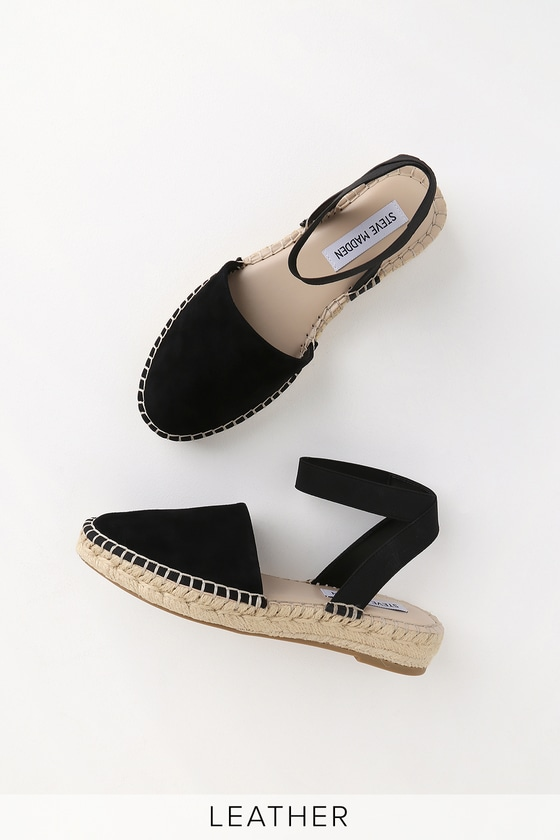 32573ab67 Steve Madden Moment - Black Espadrilles - Suede Leather Shoes