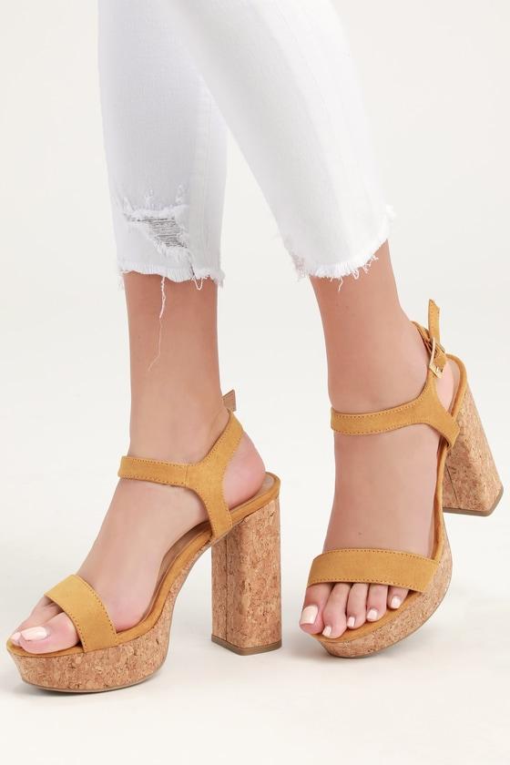 e90b7bfb66 Cute Mustard Sandals - Cork Platform Sandals - Yellow Sandals