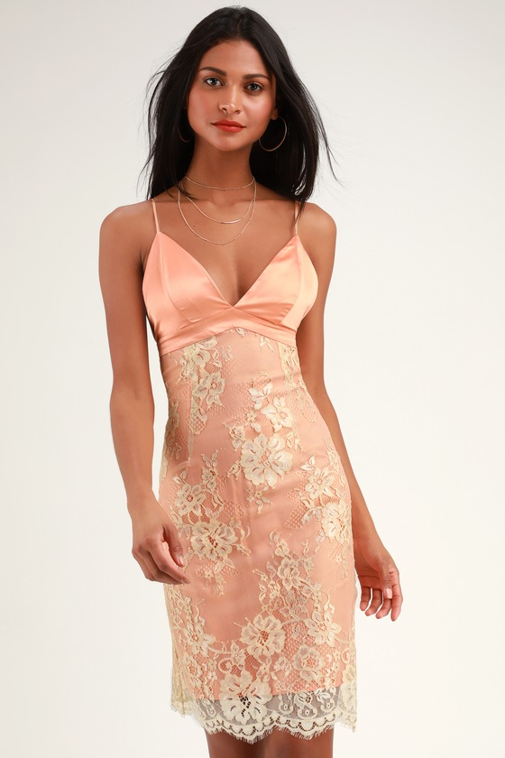 4929333bdd9 WAYF Dress - Peach Bodycon Dress - Satin Dress - Lace Dress