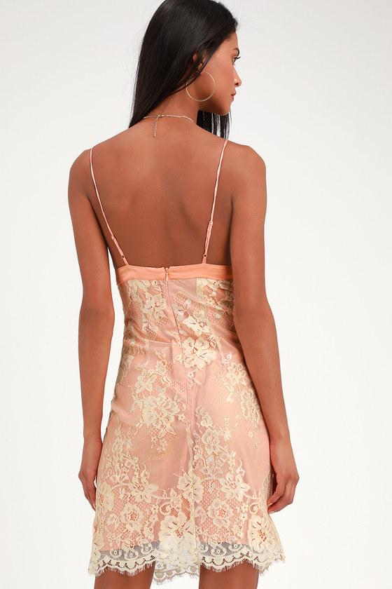 02f141fce5 WAYF Dress - Peach Bodycon Dress - Satin Dress - Lace Dress