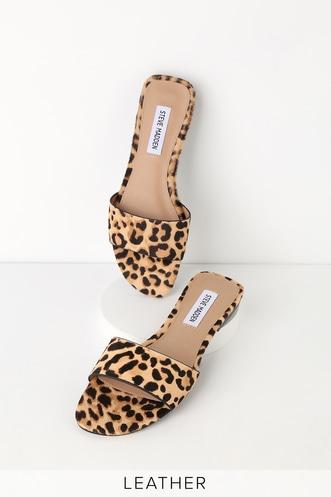 0528acb5f0ec9c Bev Leopard Cow Hair Slide Sandals