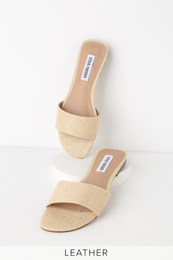 0b1168599f256 Steve Madden Bev - Natural Raffia Sandals - Woven Slide Sandals