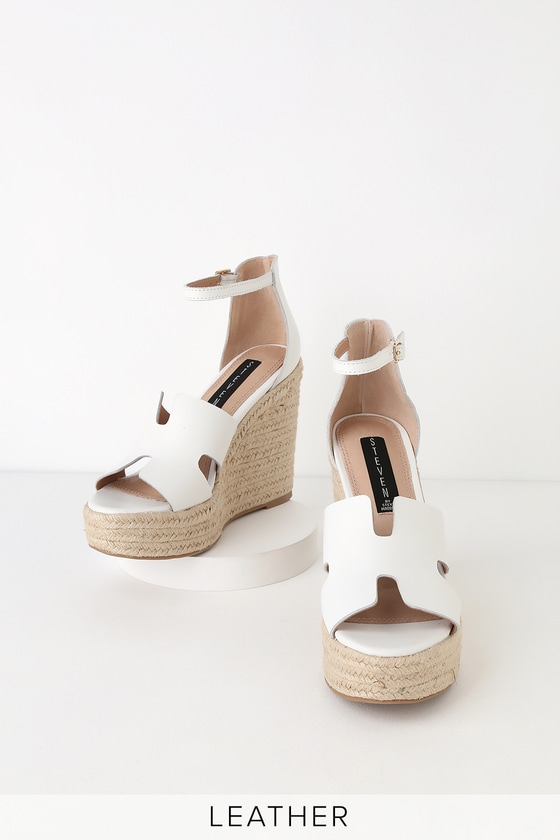 2143b5cf3f7 Sirena White Leather Espadrille Wedges