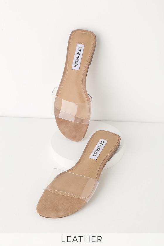 bff8d71d8d Steve Madden Bev - Clear Sandals - Clear Vinyl Slide Sandals