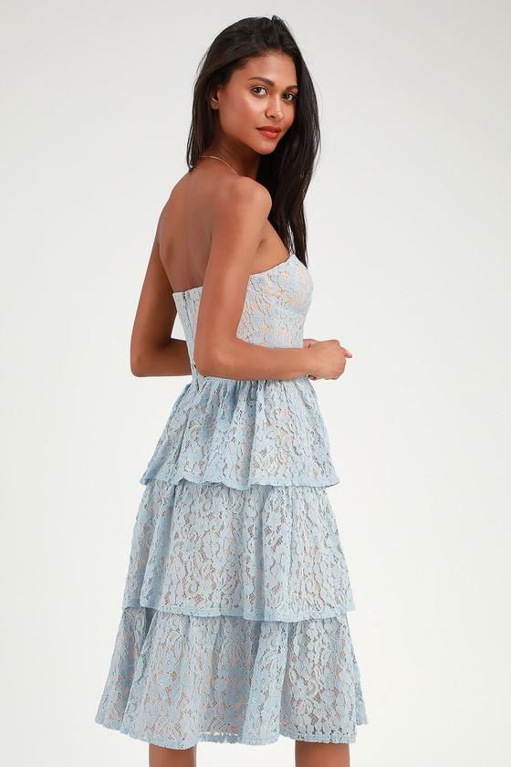 9b13b4b43ae4 Lovely Lace Dress - Strapless Lace Dress - Light Blue Lace Dress