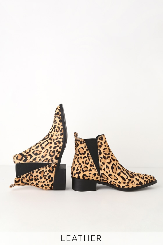 97b20222e75 Jerry Leopard Calf Hair Pointed Toe Ankle Booties