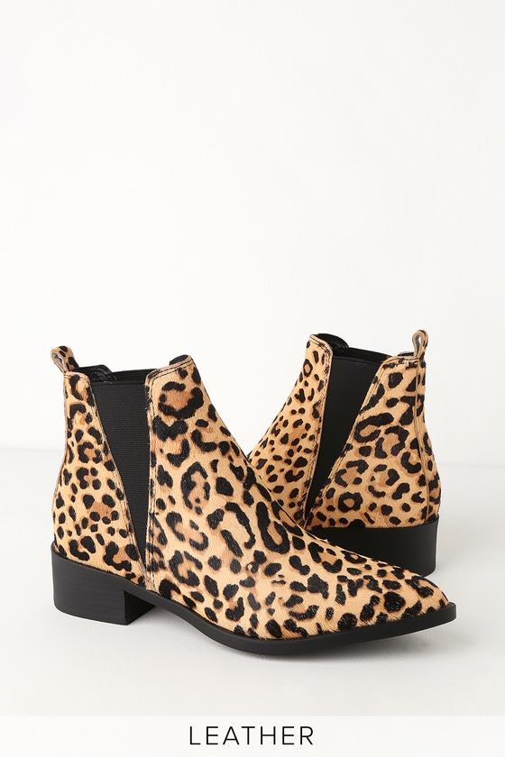 Steve Madden JERRY LEOPARD CALF HAIR POINTED TOE ANKLE BOOTIES