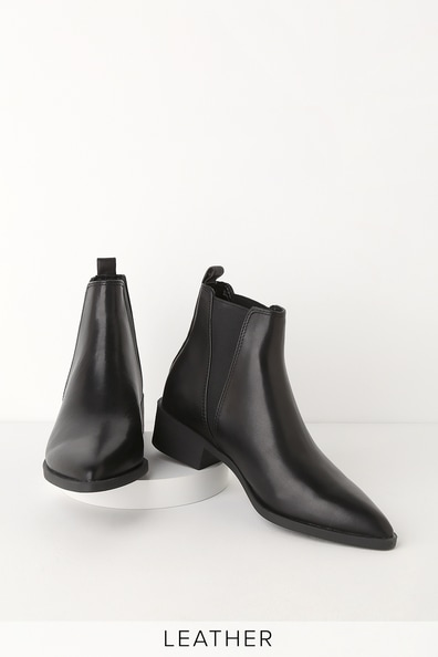 Steve Madden JERRY BLACK LEATHER POINTED TOE ANKLE BOOTIES