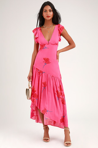 9c40479fc5 She s a Waterfall Hot Pink Floral Print Ruffled Maxi Dress