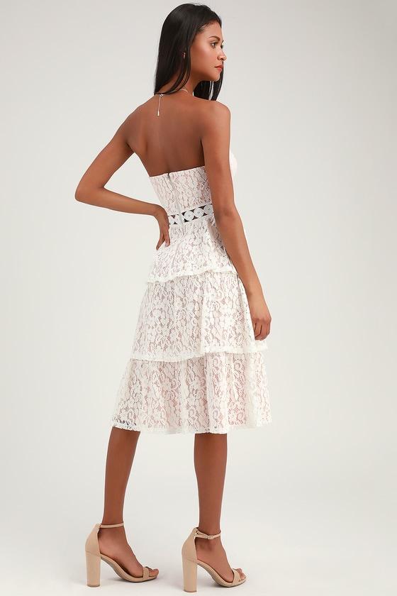 Adorn White Lace Strapless Midi Dress