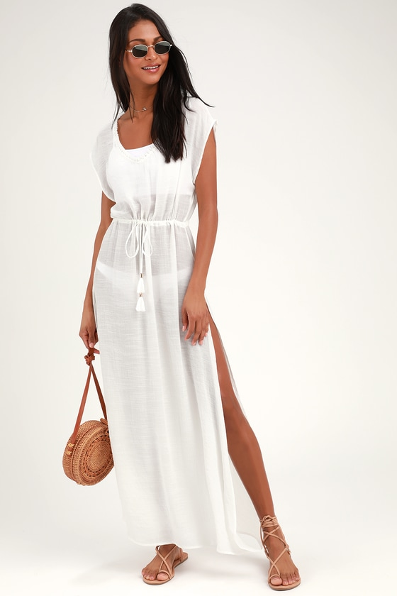 88807038350ac4 Breezy White Cover-Up - Sheer Swim Cover-Up - Maxi Swim Cover-Up