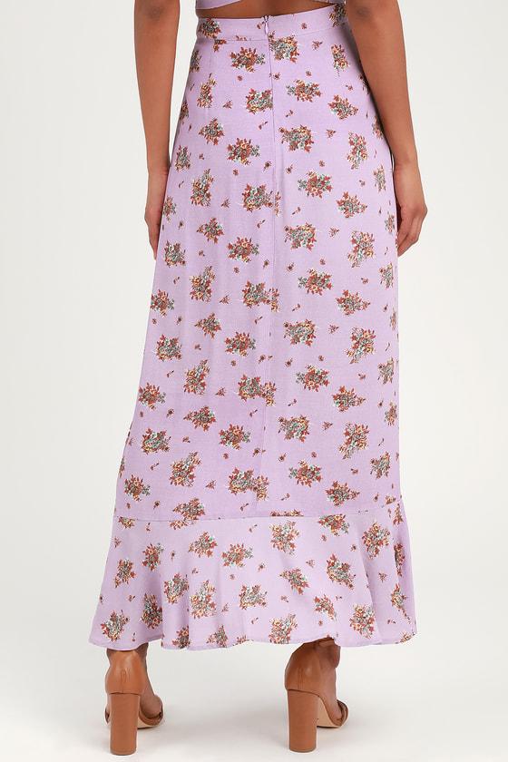 c520a5f06b 4SI3NNA Camila - Lavender Floral Print Skirt - Ruffled Midi Skirt