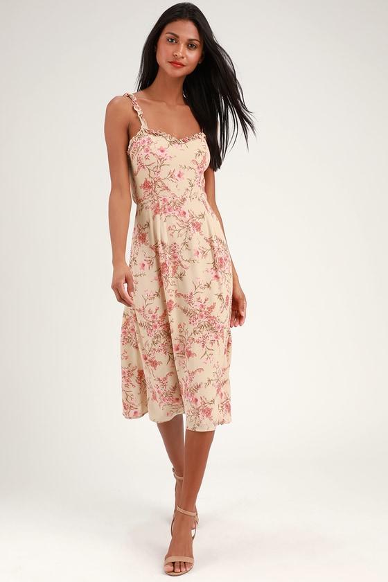 7f693de32f Peach Floral Print Dress - Floral Midi Dress - Tie-Back Dress