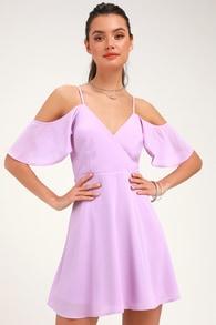 Candlelight Bistro Lavender Off-the-Shoulder Skater Dress 0458738c96